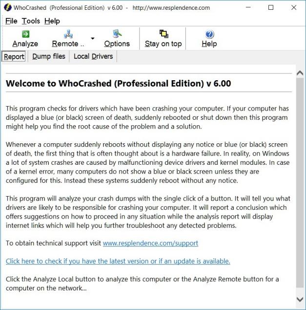 Resplendence Software - WhoCrashed, automatic crash dump analyzer